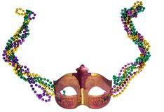 Mardi Gras mask and beads. A Mardi Gras carnival mask with multi color beads on an empty white background Stock Photos