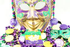 Mardi Gras Mask and Beads Royalty Free Stock Image
