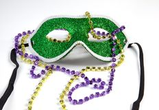 Mardi Gras Mask with Beads Royalty Free Stock Photo
