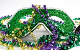 Mardi Gras Mask with Beads Stock Photo