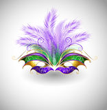Mardi Gras mask. Bright mask with purple and green feathers, decorated with gold pattern on a light background