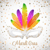Mardi Gras  mask with colorful feathers  isolated on white and gold stars Royalty Free Stock Photo