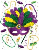 Mardi_Gras_mask_confetti Imagens de Stock Royalty Free