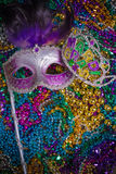Mardi Gras Mask on dark Background Stock Photos