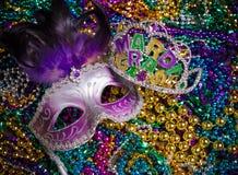Mardi Gras Mask on dark Background Royalty Free Stock Photos