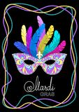 Mardi Gras mask with feathers on a colored bead frame on black background. Vector illustration EPS10.  stock illustration