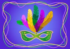 Mardi Gras mask with feathers on a colored bead frame. Vector illustration EPS10.  royalty free illustration