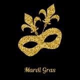 Mardi Gras mask from gold glitter. Venetian carnival mask. Stock Photography