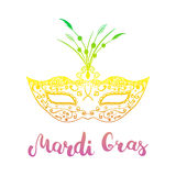 Mardi Gras mask and hand lettering calligraphic text Mardi Gras.  Party mask for carnival , Fat Tuesday. Stock Photos