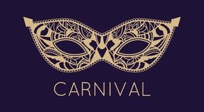 Mardi Gras mask of lace collection set. Mardi Gras Carnival mask of lace. Mono line style. Vector Illustration Background Royalty Free Stock Photo