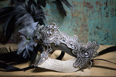 Mardi Gras Mask with lace and a diamond Royalty Free Stock Images