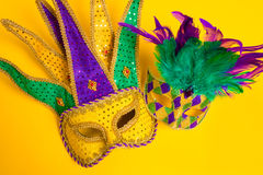 Mardi Gras Mask son yellow Background Royalty Free Stock Image