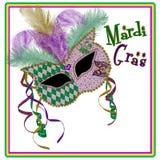 Mardi Gras Mask Square Image - Purpur/Goldgrün Stockbild