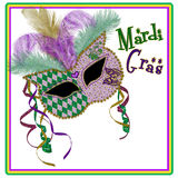 Mardi Gras Mask Square Image - Purpur/Goldgrün Stockbild