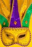 Mardi Gras Mask on yellow Background Stock Image