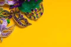 Mardi Gras Mask on yellow Background Stock Photography