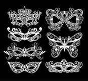 Mardi Gras-masker van de reeks van de kantinzameling Royalty-vrije Stock Foto's