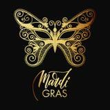 Mardi Gras-masker van kantachtergrond Stock Afbeeldingen