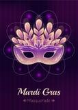 Mardi Gras maskeradmaskering med fjädrar och pärlor Royaltyfri Fotografi
