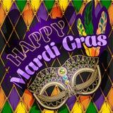 Mardi Gras maskering, färgrik affisch, mall, reklamblad också vektor för coreldrawillustration stock illustrationer