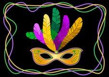 Mardi Gras maskering med fjädrar på en kulör pärlram Vektorillustration EPS10 stock illustrationer