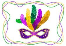 Mardi Gras maskering med fjädrar på en kulör pärlram Vektorillustration EPS10 vektor illustrationer