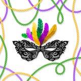 Mardi Gras maskering med fjädrar på en kulör pärlram Vektorillustration EPS10 royaltyfri illustrationer
