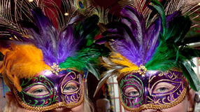 Mardi Gras Masks. Two women wearing a Mardi Gras masks Stock Photos
