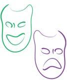 Mardi Gras masks. Colorful mardi gras masks, happy and sad stock illustration