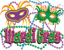 Mardi Gras Masks and Beads Stock Image