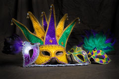 Mardi Gras Masks on dark Background Stock Image