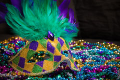 Mardi Gras Masks on dark Background Royalty Free Stock Photo