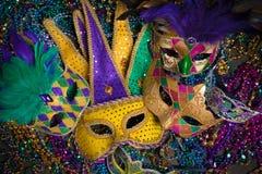 Mardi Gras Masks on dark Background Stock Photography