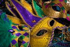 Mardi Gras Masks on dark Background Royalty Free Stock Photos