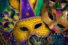 Mardi Gras Masks on dark Background Royalty Free Stock Photography