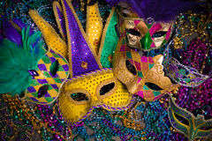 Mardi Gras Masks on dark Background Royalty Free Stock Photography