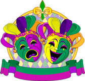 Mardi Gras Masks design. Mardi Gras Comedy and Tragedy Masks design, with place for text