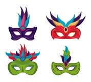 Mardi gras masks icons. Icon vector illustration graphic design Stock Photo