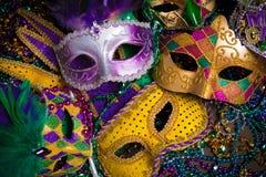 Mardi Gras Masks med pärlor Royaltyfri Bild