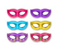 Venetian Carnival Masks set. Masquerade Mardi Gras 3d party decoration isolated on white background stock illustration