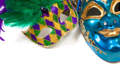 Mardi gras masks on white Stock Images