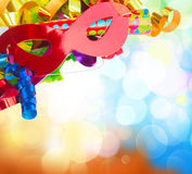 Mardi gras masques. On defocused festive  background Royalty Free Stock Photography