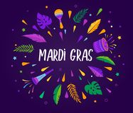 Mardi Gras - molde gordo da celebração do carnaval de terça-feira ilustração do vetor