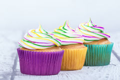 Mardi Gras muffin royaltyfria foton