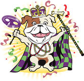 Mardi Gras Mutt. Happy bulldog celebrating at a colorful festival Stock Images