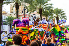 Mardi Gras. NEW ORLEANS USA FEB 1 2016: Mardi Gras parades through the streets of New Orleans.People celebrated crazily. Mardi Gras is the biggest celebration