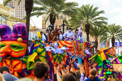 Mardi Gras New Orleans. NEW ORLEANS USA FEB 1 2016: Mardi Gras parades through the streets of New Orleans.People celebrated crazily. Mardi Gras is the biggest