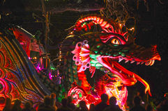 Mardi Gras night parade. Leviathan dragon parade float on St Charles during Mardi Gras in New Orleans, Louisiana