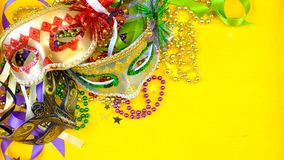 Mardi Gras overhead background with colorful masks and beads stock image