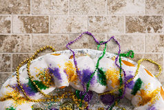 Mardi Gras: Overhead View Of King Cake With Copyspace Royalty Free Stock Photo